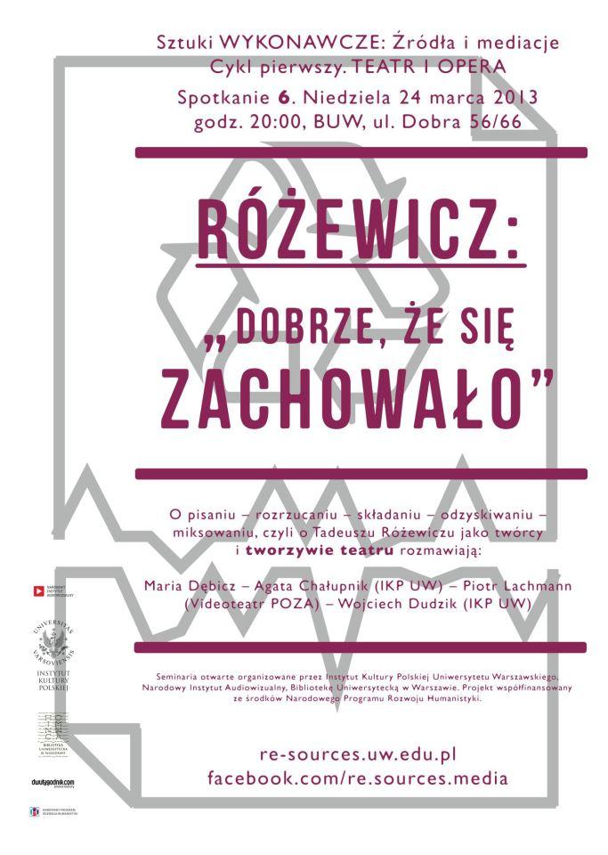 """CYKL 1. Teatr – Różewicz: """"Dobrze, żesię zachowało"""""""