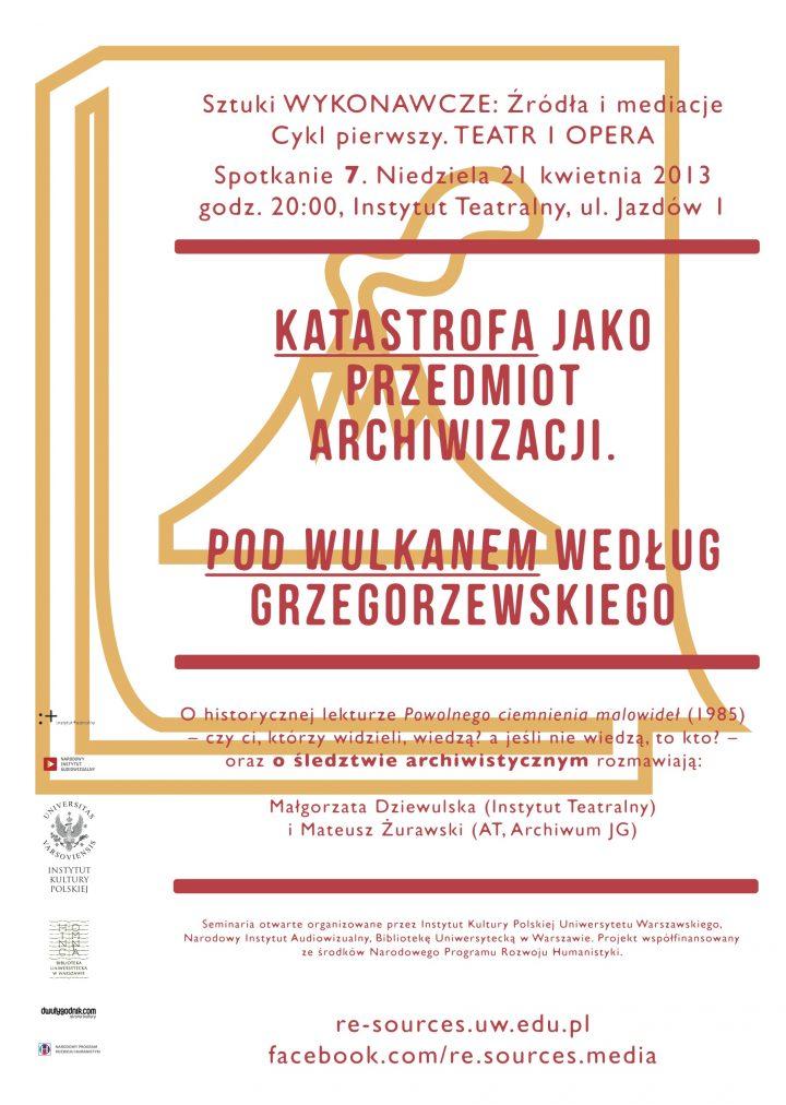 """CYKL 1. Teatr – Katastrofa jako przedmiot archiwizacji. """"Pod Wulkanem""""  według Grzegorzewskiego"""